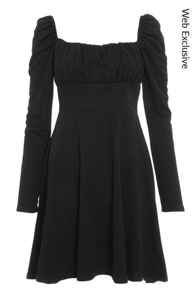 Black Ruched Long Sleeve Skater Dress